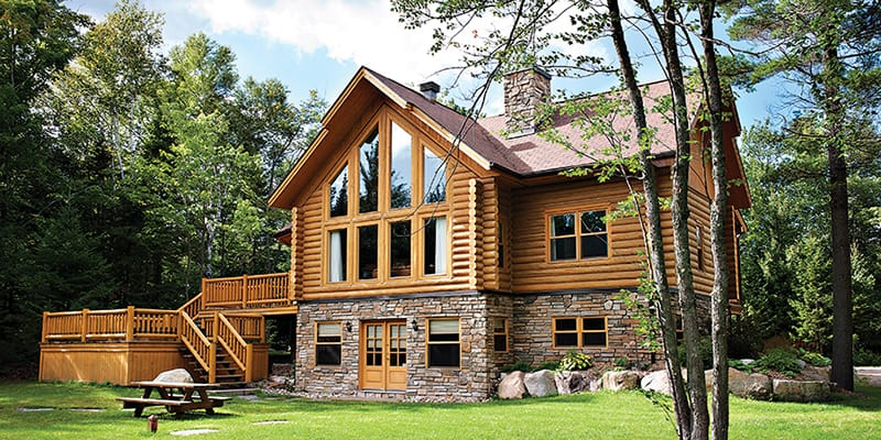 Cultured Stone on log house