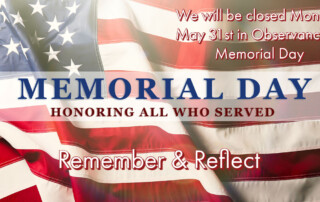 Memorial Day Hours for 2021