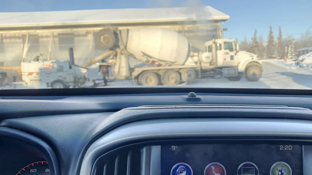 Dashboard Temperature -9 Fahrenheit on the job with Valley Block & Concrete